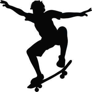 Skateboard Clipart Image: Skateboarder riding a skateboard.