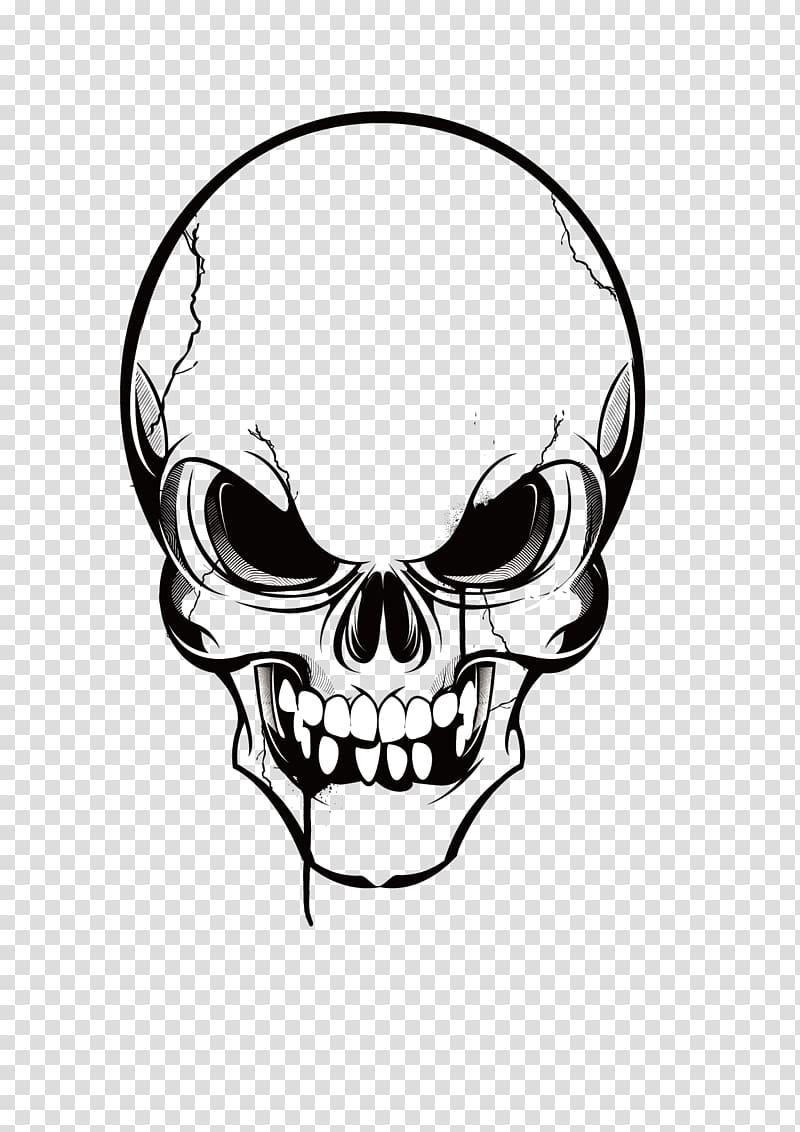 Black and white skull illustration, Skull , skulls transparent.