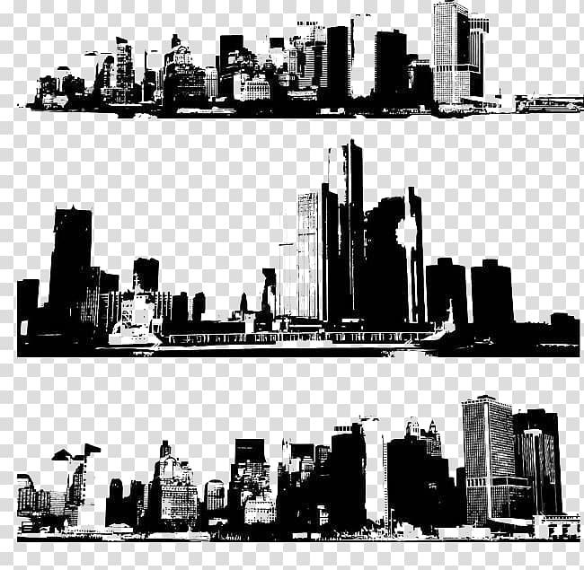 New York City Skyline, Black silhouette building transparent.