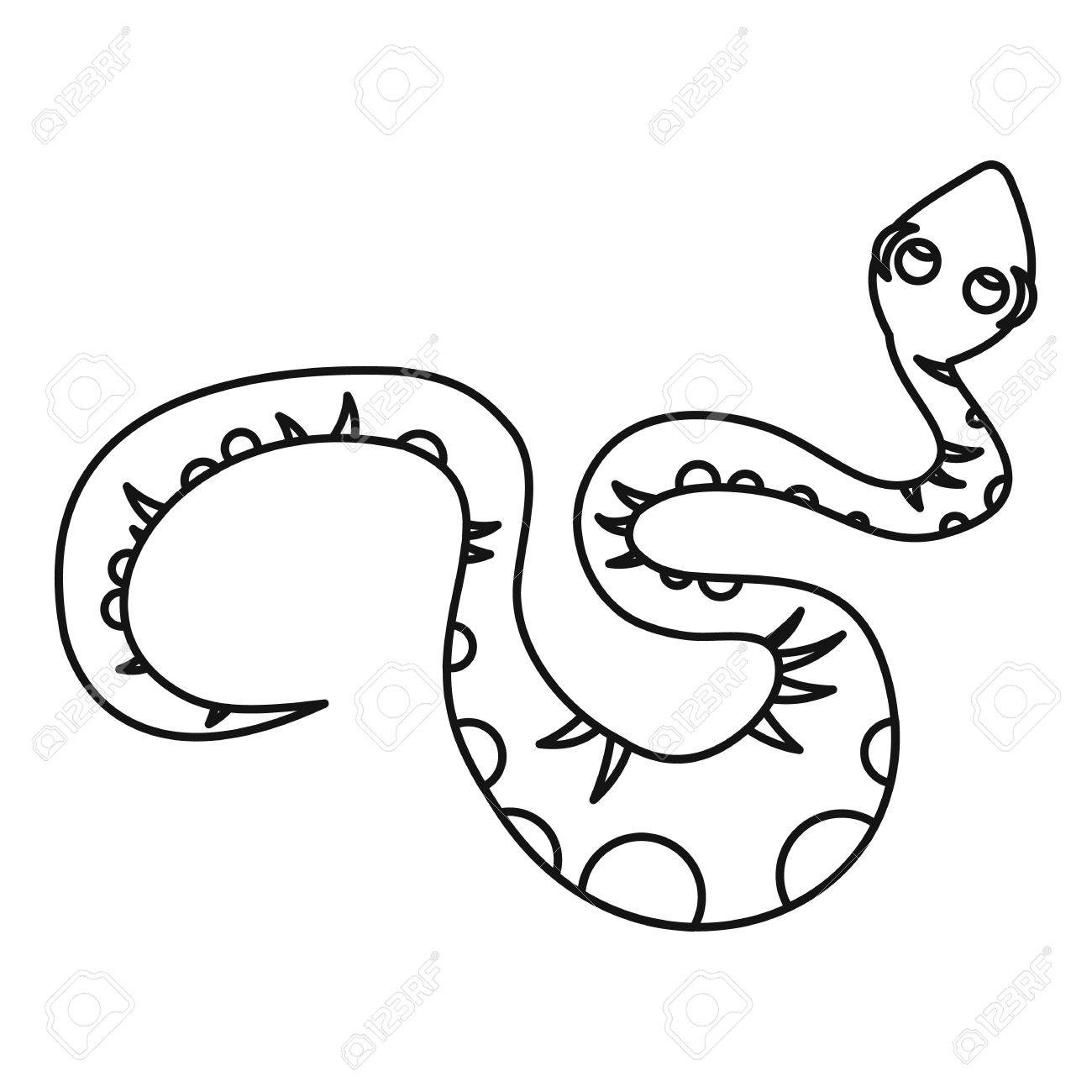 Black snake icon in outline style isolated on white background...