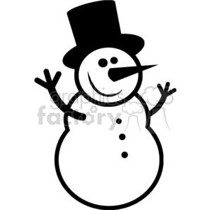 Black and White happy snowman clipart. Royalty.
