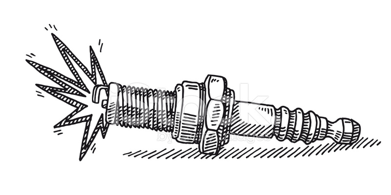 Spark Plug Drawing Stock Vector.