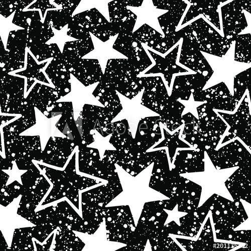 Stars with splash seamless vector pattern. Black and white.