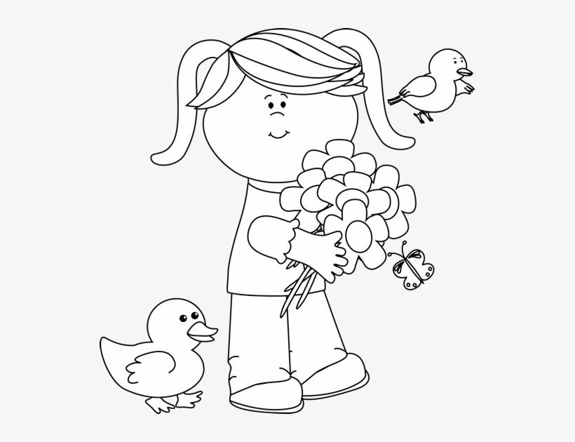 Black And White Spring Friends Clip Art.