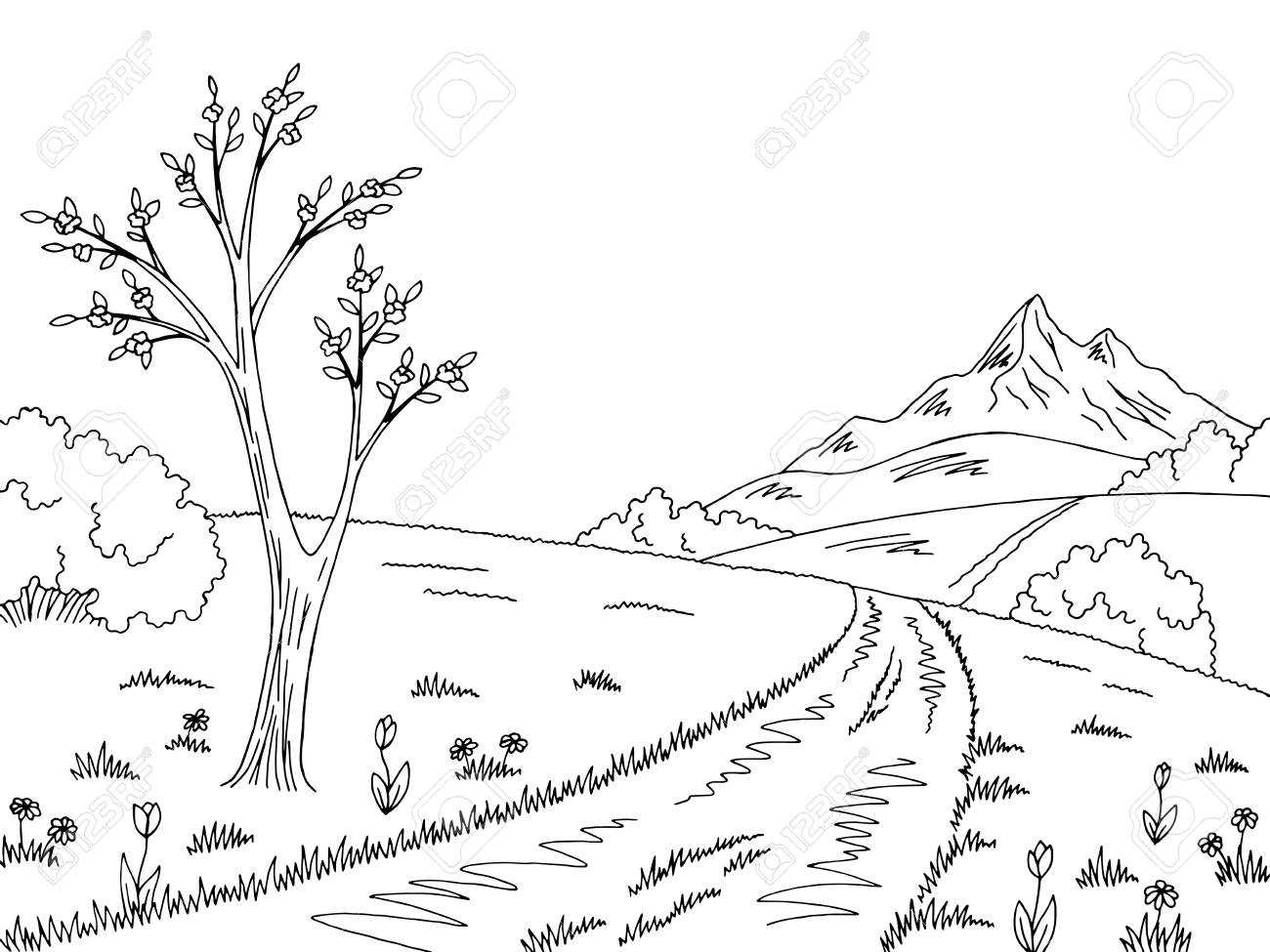 Mountain road graphic black white spring landscape sketch illustration...