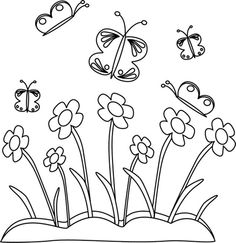 Spring clip art black and white.