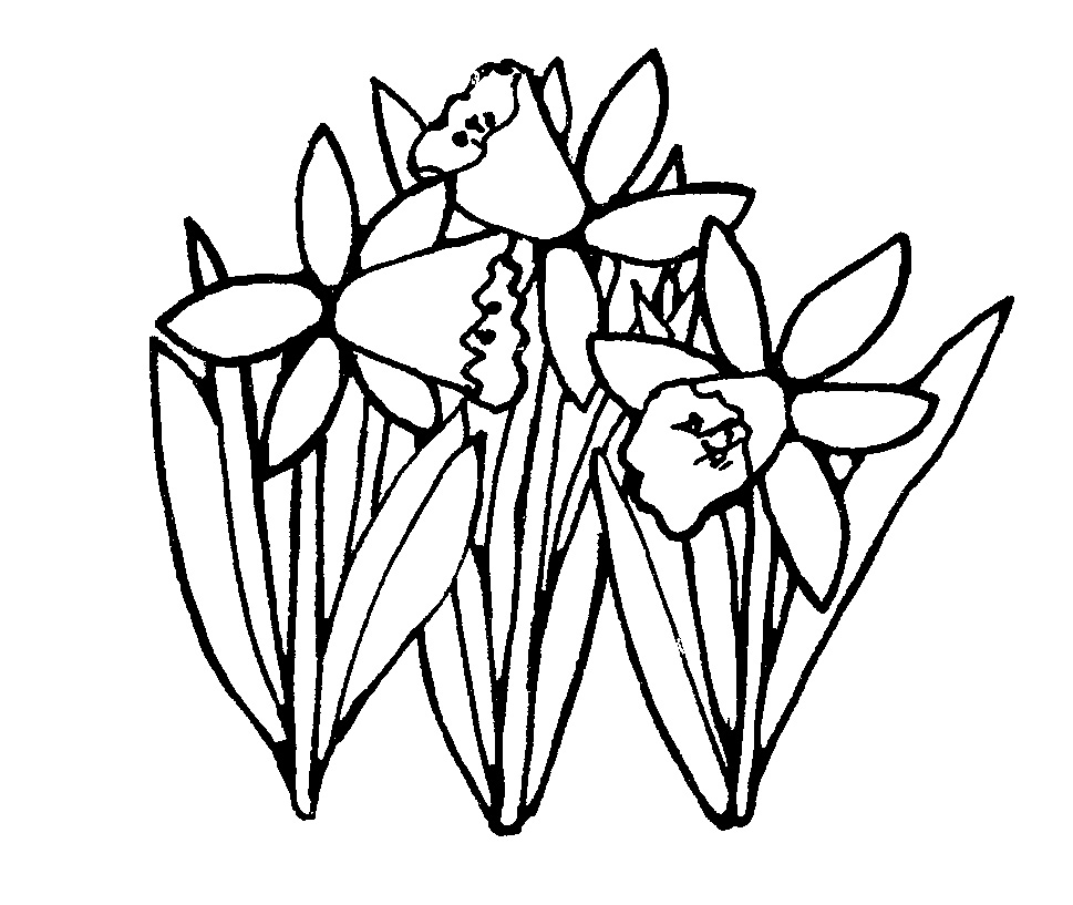 Spring Flowers Black And White Clipart.