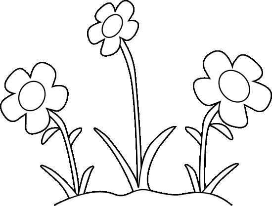 Black and White Flower Garden Clip Art.