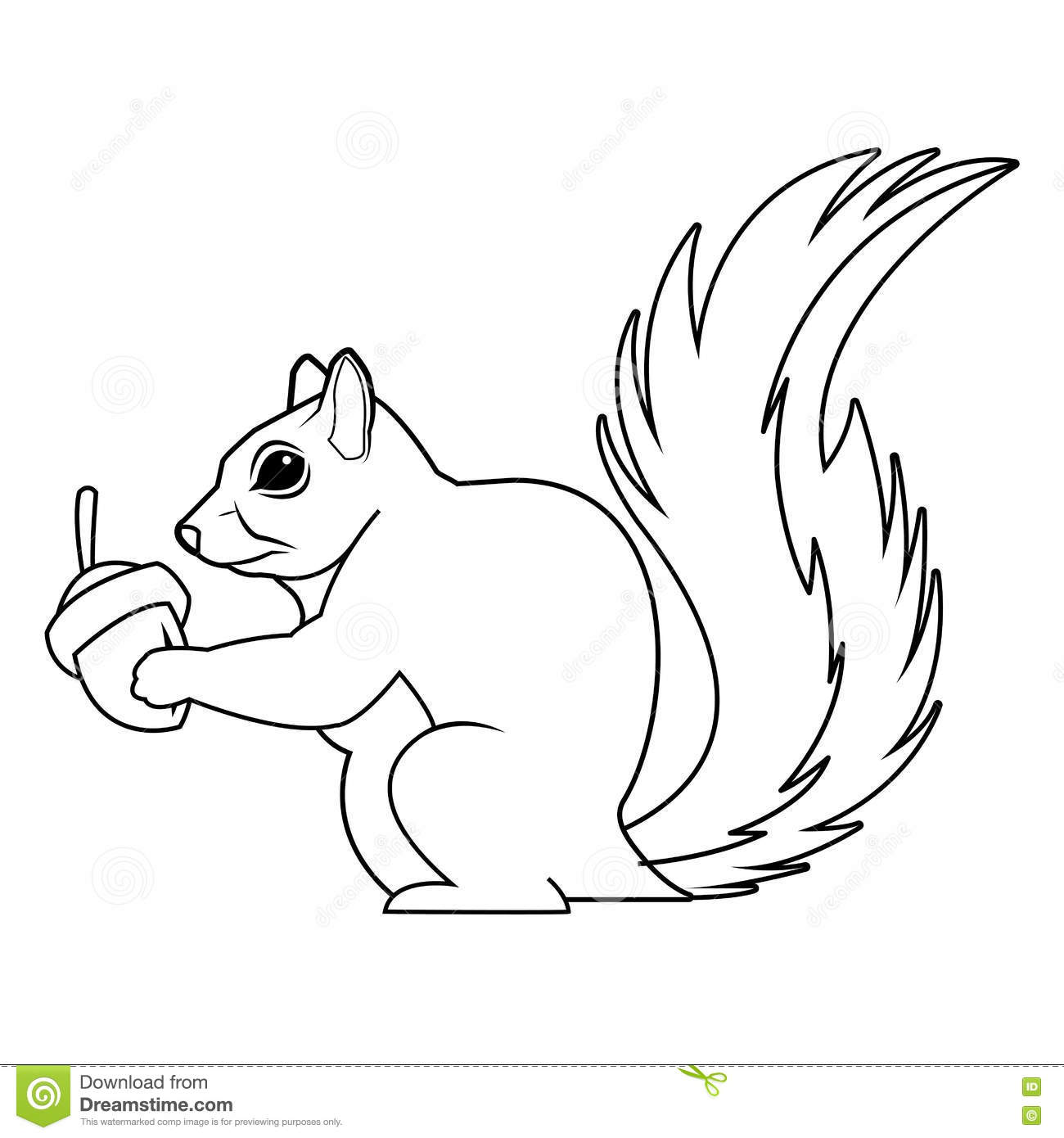 Black And White Squirrel Design Stock Vector.