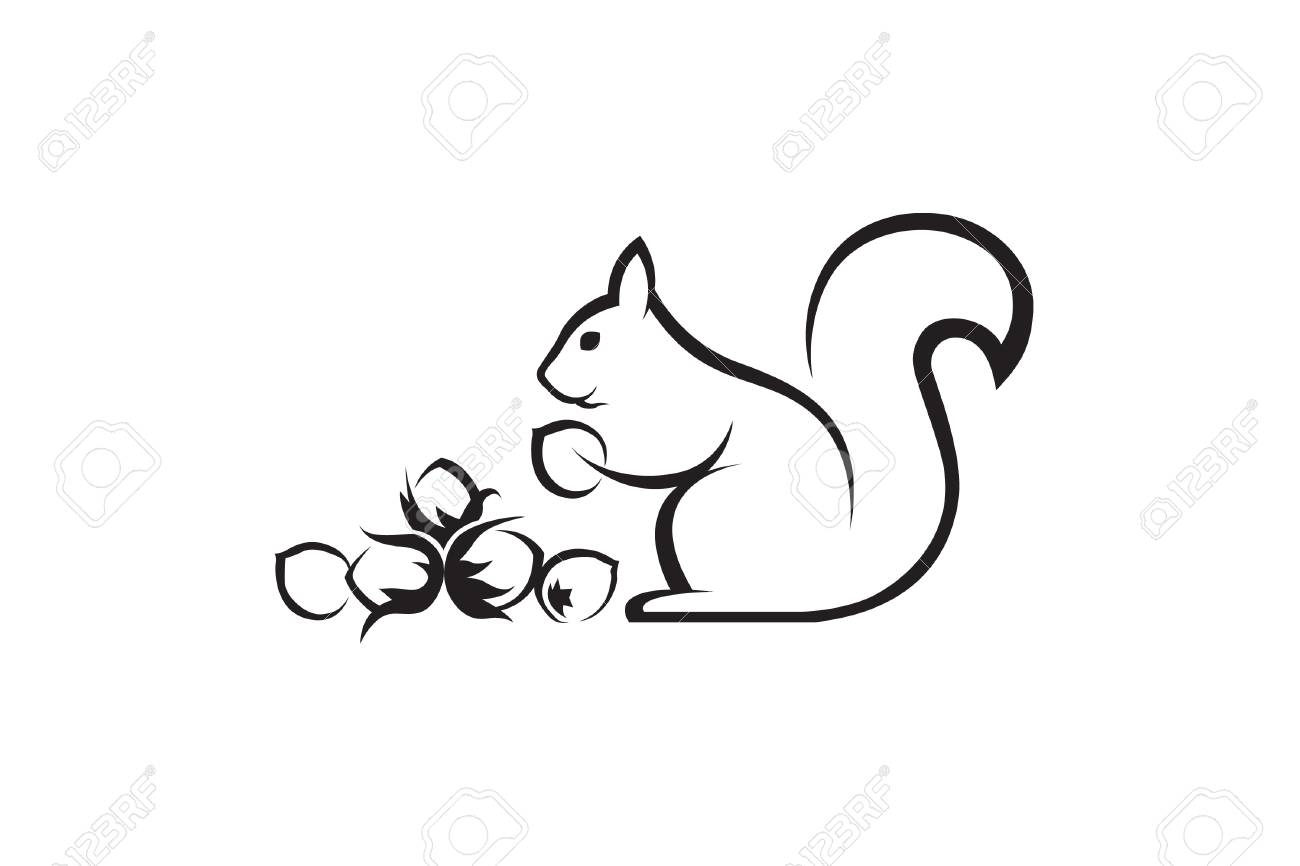 black icon of squirrel with nuts on white background.