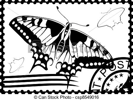 Postage Stamp Clipart Black And White.