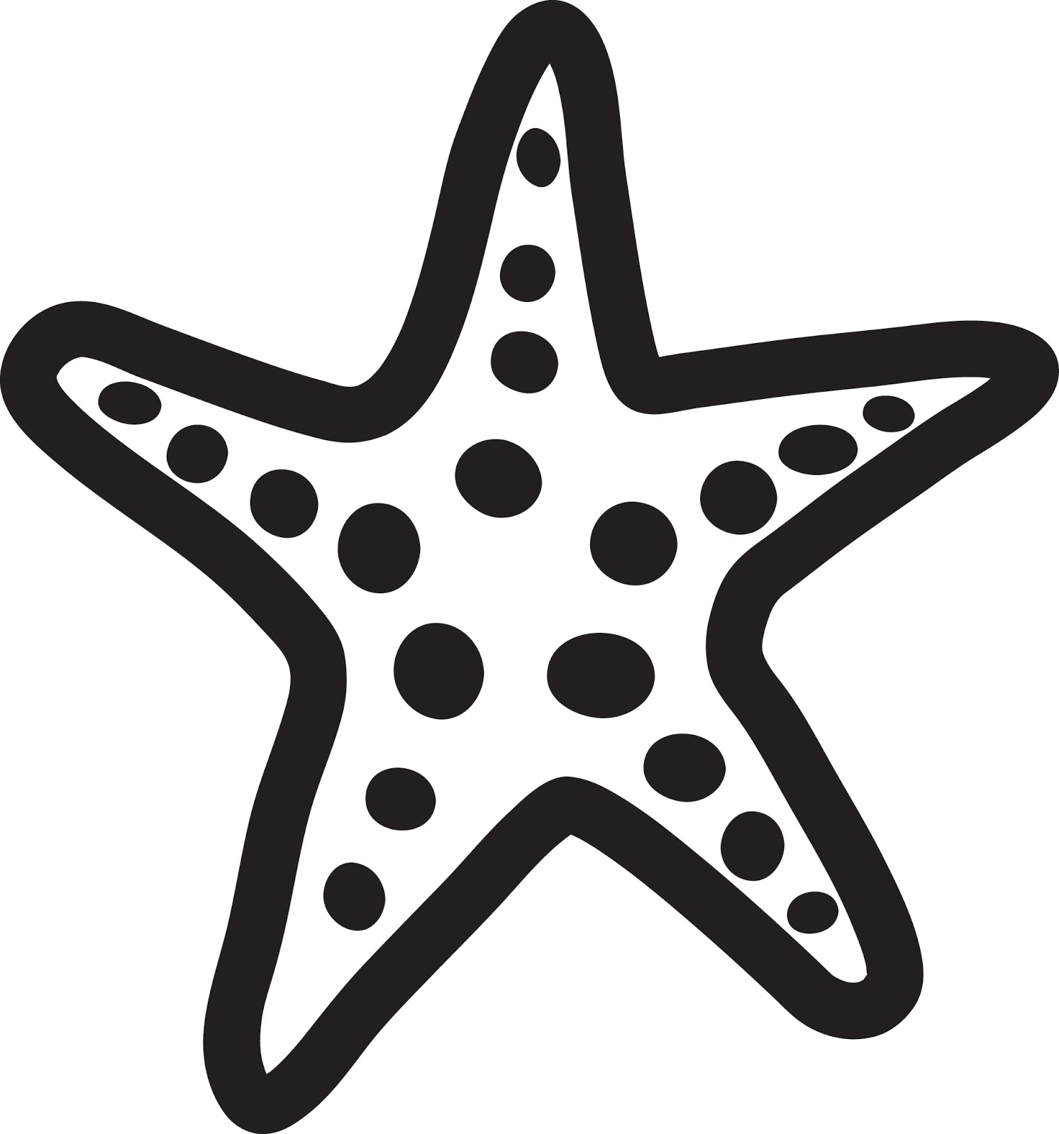 Starfish clipart black and white » Clipart Station.