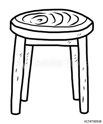 wooden round chair / cartoon vector and illustration, black.