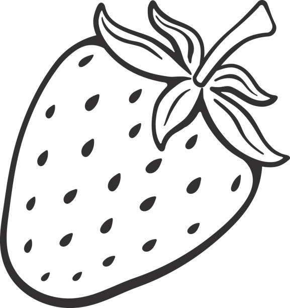Black And White Clipart Of Strawberry.