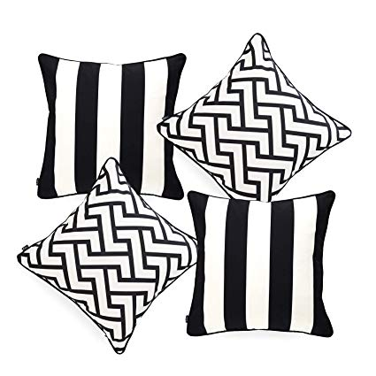 Hofdeco Indoor Outdoor Pillow Cover ONLY, Water Resistant for Patio Lounge  Sofa, Black White Stripes Maze, 18\