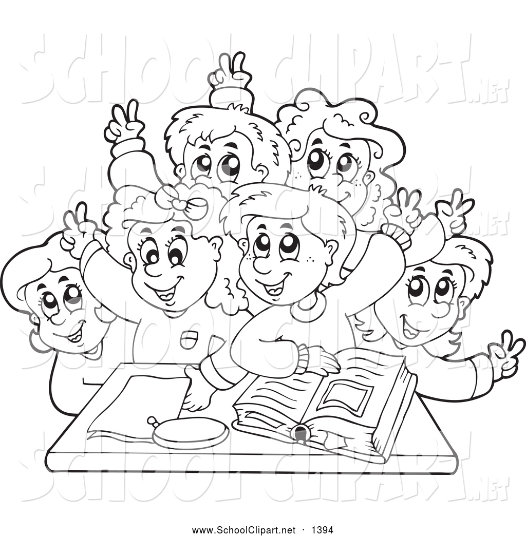Group Of Students Clipart Black And White.