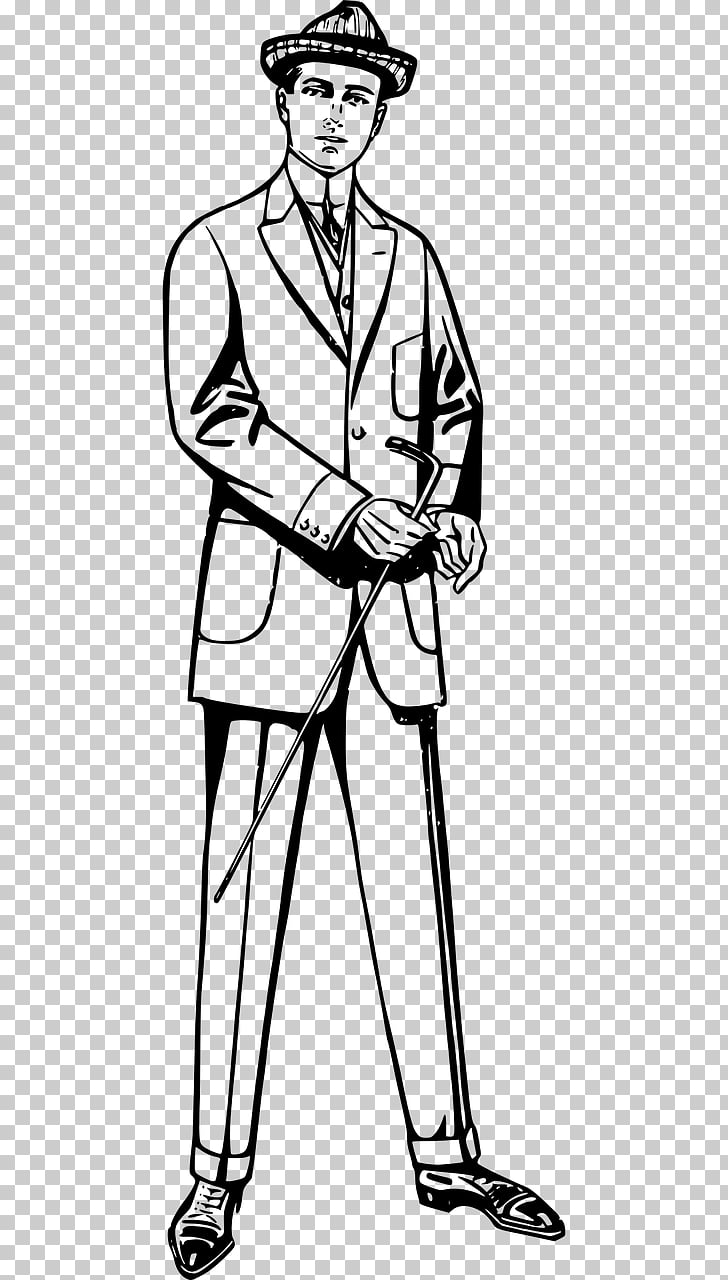 Suit Black and white , England gentleman PNG clipart.