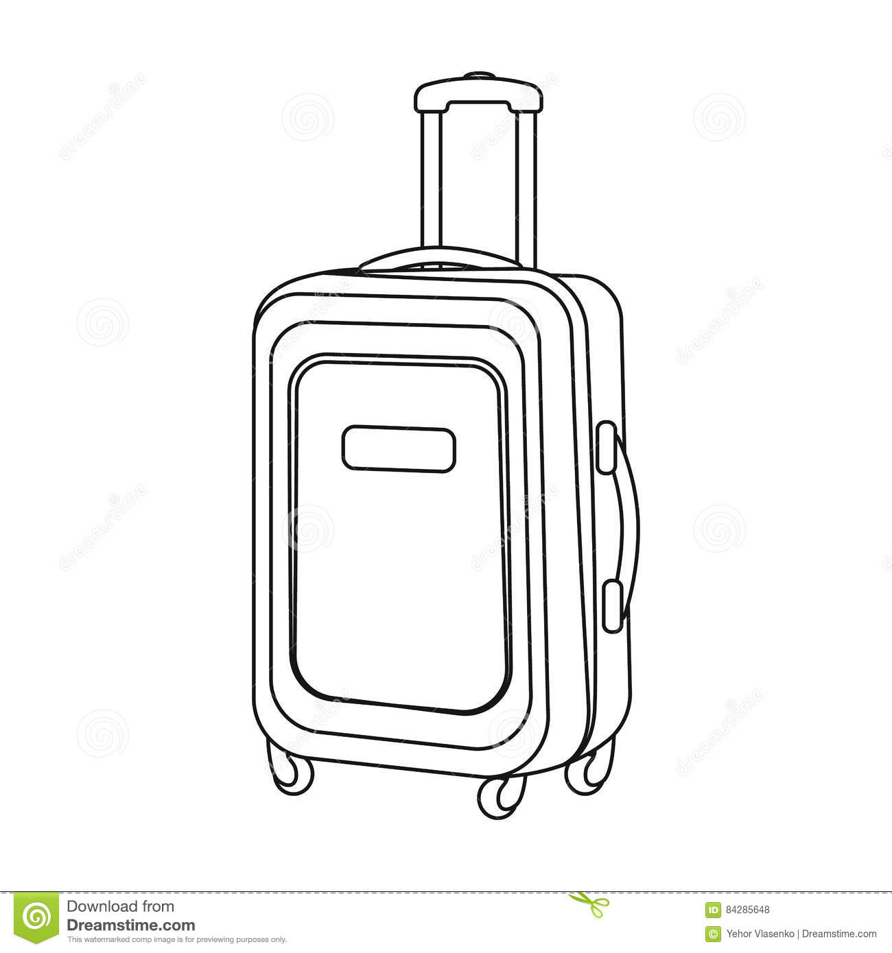 Travel Luggage Icon In Outline Style Isolated On White Background.