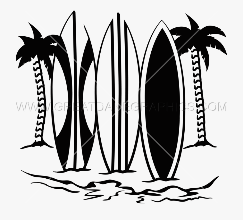 Black Clipart Surfboard.