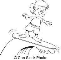 Surfing people vector girl. Vector surfing girl standing.