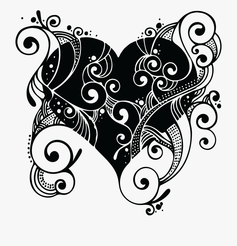 Free Clipart Of A Love Heart With Swirls.