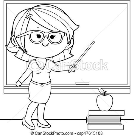 teacher clipart black and white teacher teaching at class coloring.