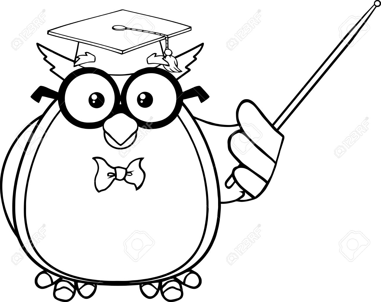 Black And White Wise Owl Teacher Cartoon Mascot Character With...