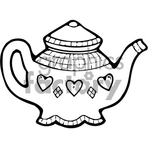 black white cartoon teapot art clipart. Royalty.