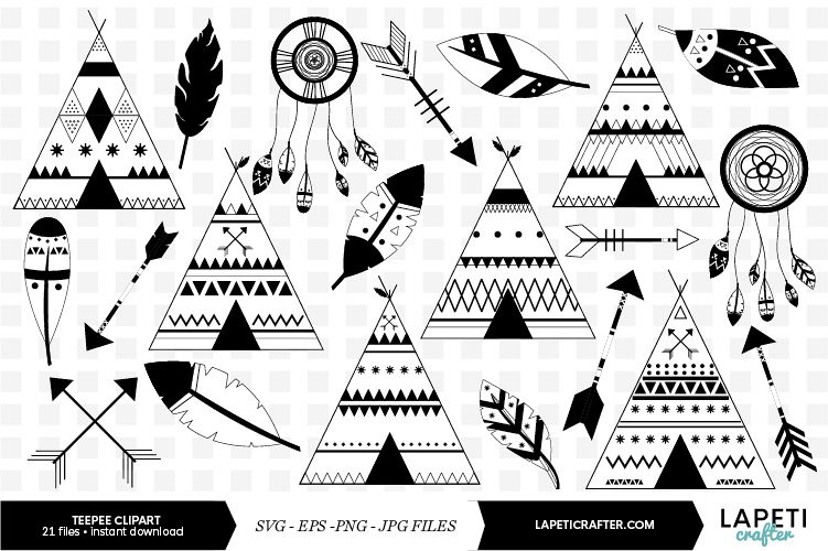 Black and white teepee clip art. Boho wedding tribal clipart.