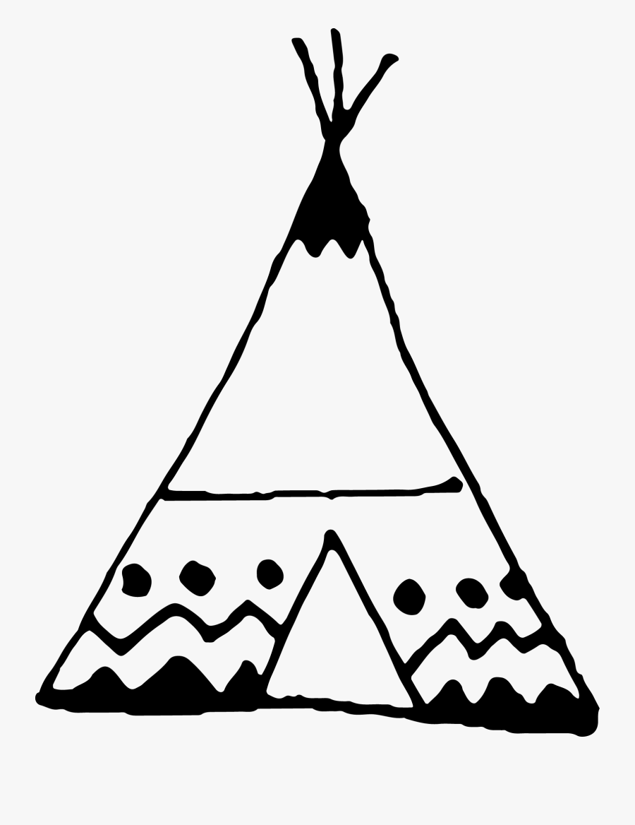 Black And White Teepee Drawing , Free Transparent Clipart.