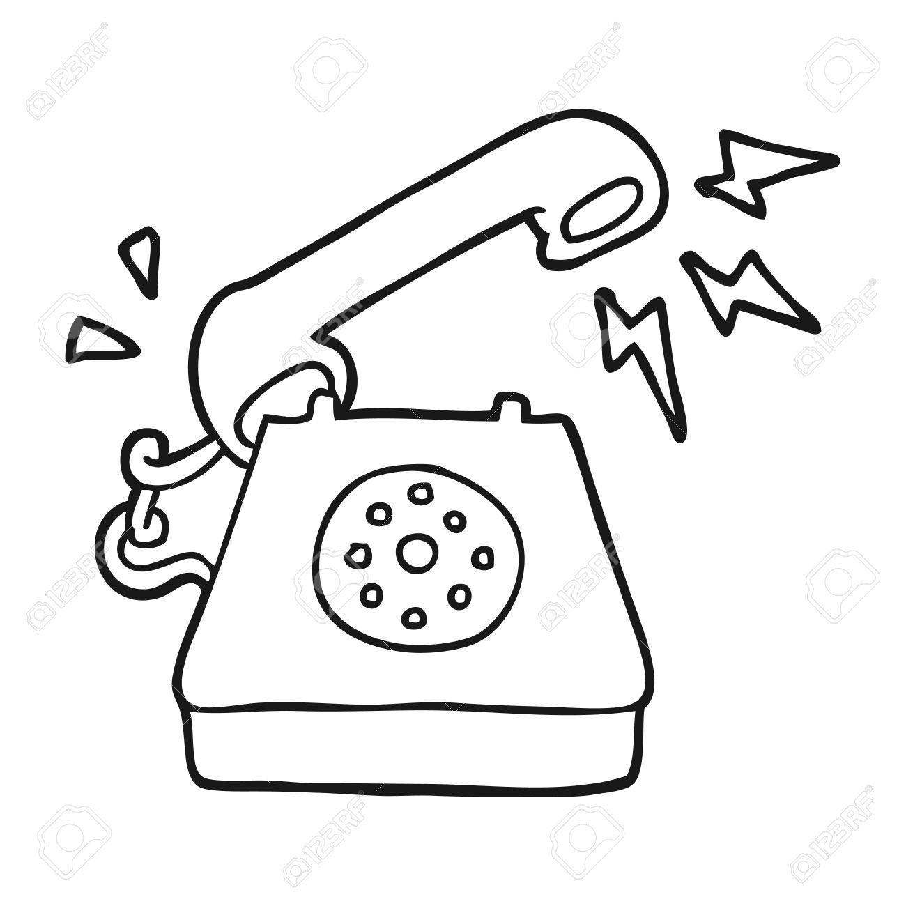 freehand drawn black and white cartoon ringing telephone.
