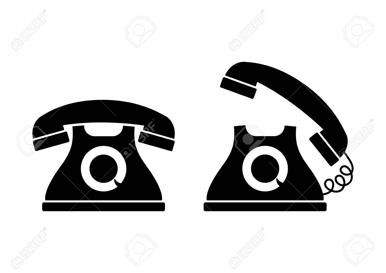 Black and white telephone icons.