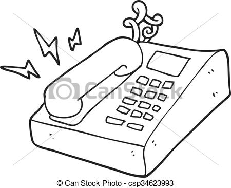 black and white cartoon office telephone.