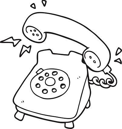Black and White Cartoon Ringing Telephone premium clipart.