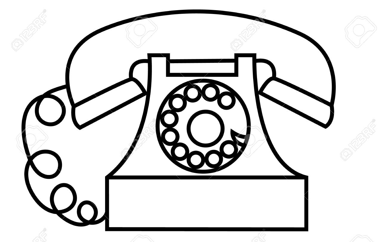 Old, retro, antique, vintage, hipster, black and white disc telephone...