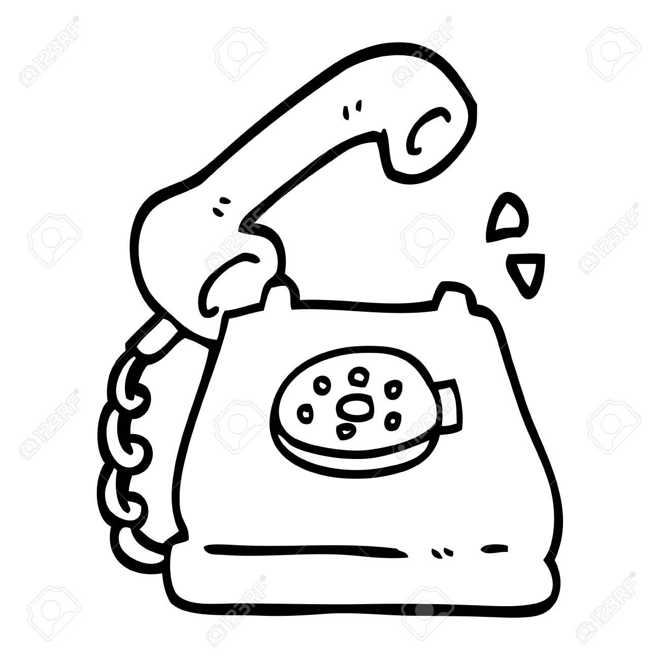black and white cartoon telephone ringing.
