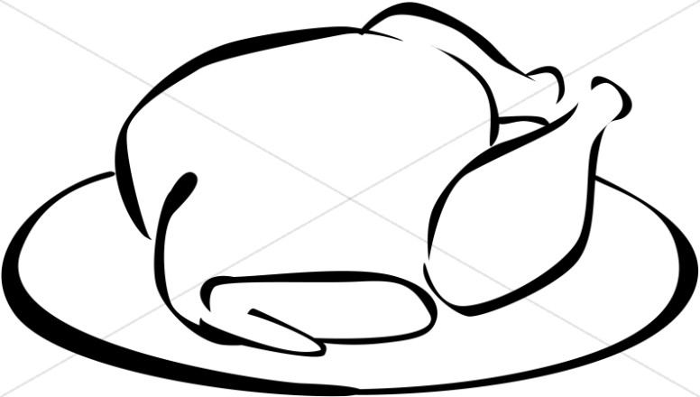 Black and White Turkey Clipart.