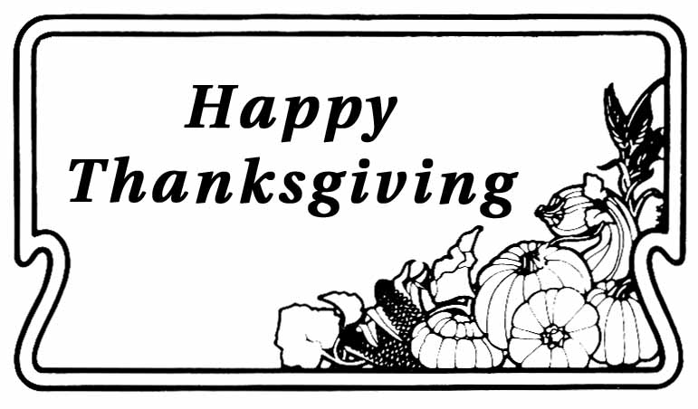 Happy Thanksgiving Clipart Black And White.