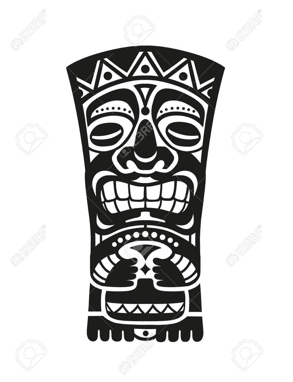 Sticker in ethnic style. Black and white mask of Tiki totem...
