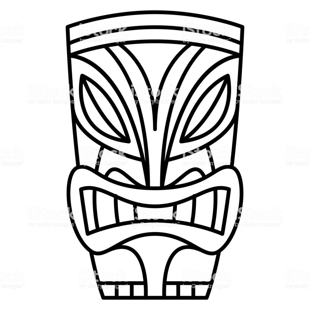 Cartoon Tiki Idol Isolated On White Background Stock Illustration.