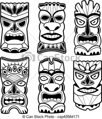 Hawaiian tiki statue masks black and white set.