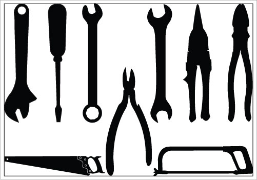 12 Black And White Vector Construction Tools Images.