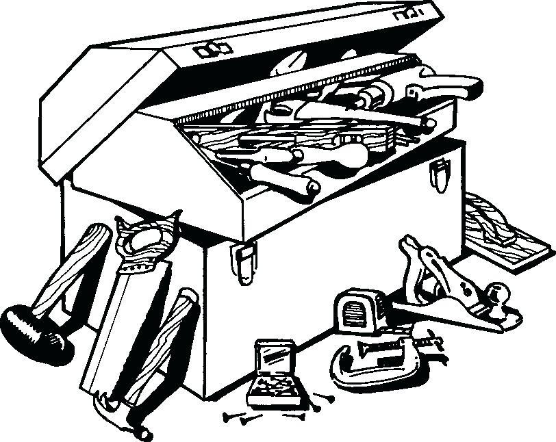 Clip Art Tool Box X Black And White.
