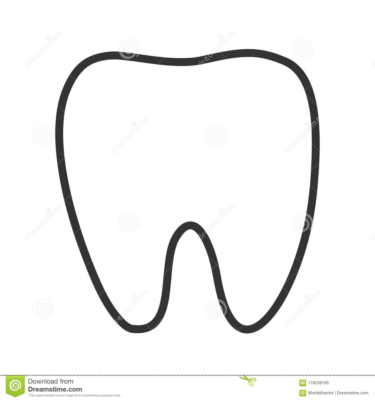 Healthy White Tooth Black Contour One Line Silhouette Icon. Oral.