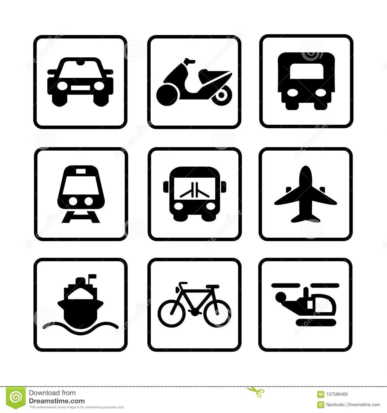 Transportation Modern Icon Set. Stock Vector.