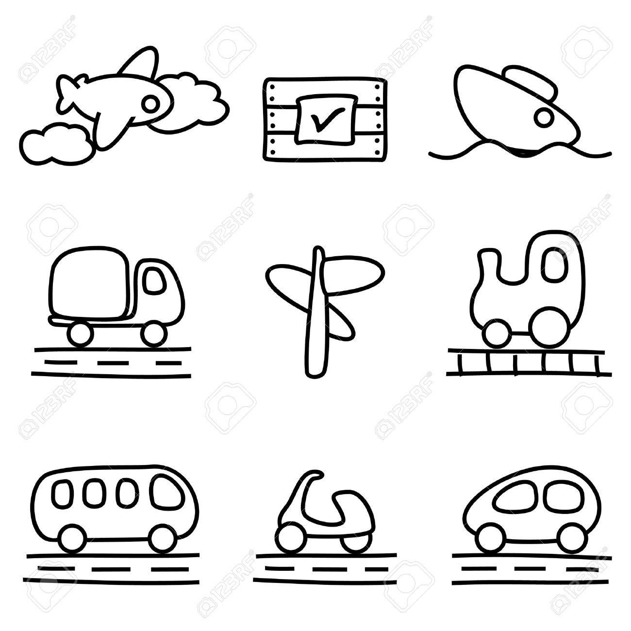 Transportation icons (black and white variation).