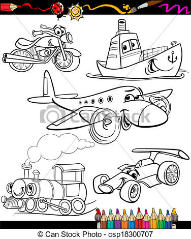 transport set for coloring book.