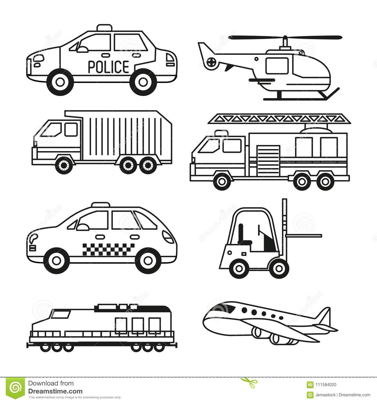 White Background With Monochrome Set Of Vehicles Of Public Transport.