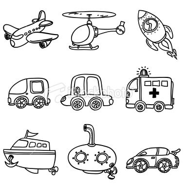 Drawing of different kinds of transportation in black and white.