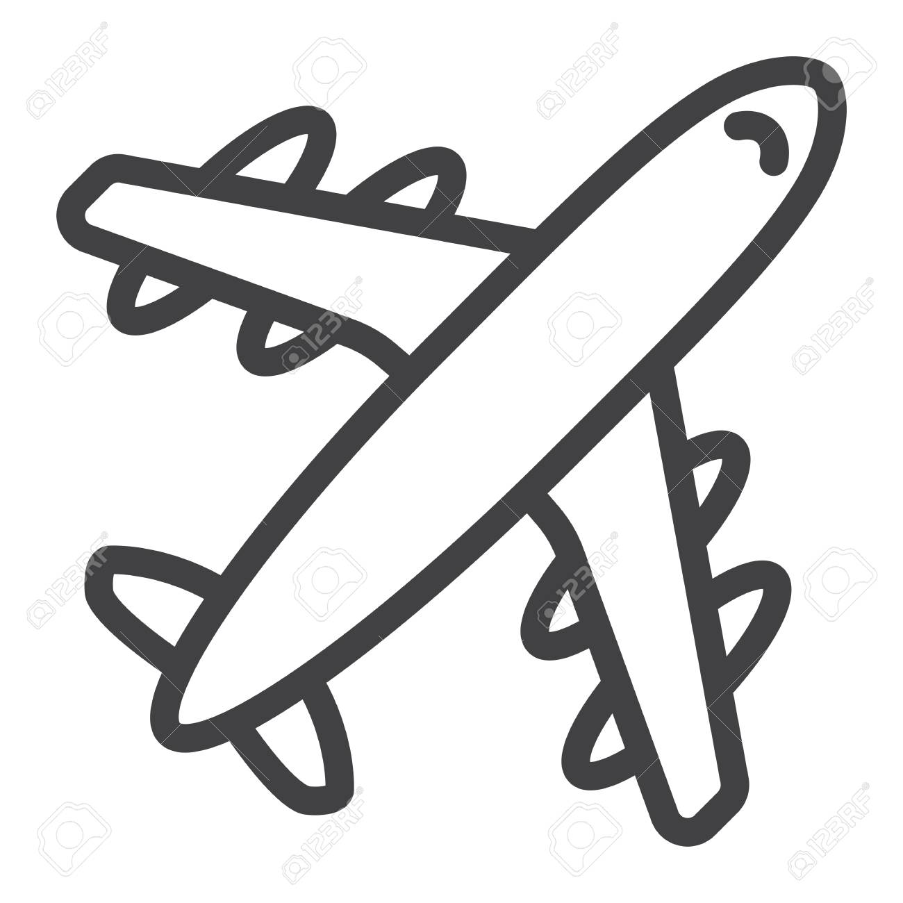 Airplane line icon, travel and transport, aircraft vector.